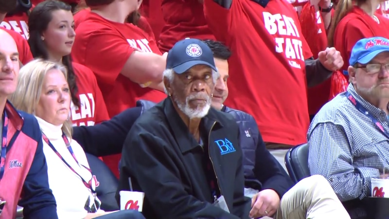 Morgan Freeman takes in some Ole Miss basketball