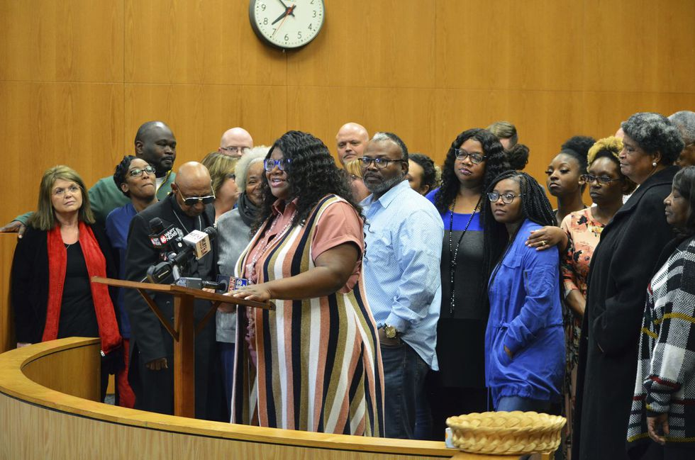 Shayla Edwards, mother of Austin Edwards, speaks to the media, Thursday, Feb. 27, 2020, in the Pike County Courthouse in Magnolia, Miss., following the sentencing of Willie Cory Godbolt, who murdered her son and nephew as well as six other people in 2017. Godbolt was sentenced to death on four capital murder charges and life for the remaining four murder charges. He was also sentenced for attempted murder, kidnapping and armed robbery.