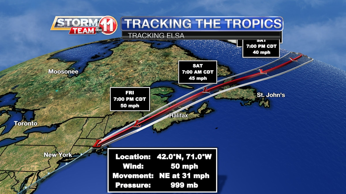 Post-Tropical Cyclone Elsa Track