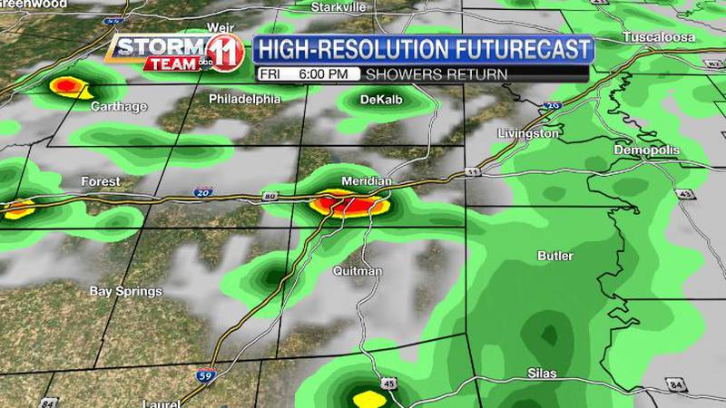 Showers and a few heavy storms are possible Friday afternoon and evening.